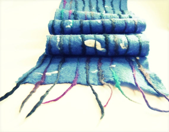 SALE... Felted unisex multicolor deep blue scarf, free gift wrap, eco friendly from Europe with love, minimalist style