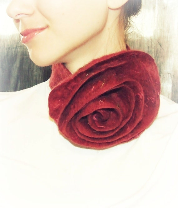 Felted necklace burgundy  flower scarf, free gift wrap bridesmaid Weddings loop spiral Valentines day gift idea spring fashion