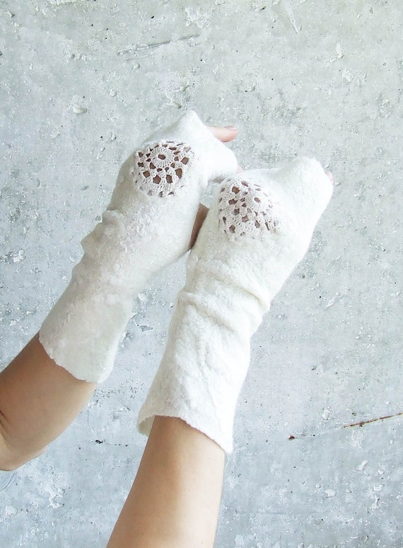 White wool mittens eco friendly fingerless felted wrist arm warmers lace snow bridesmaid gift idea Weddings Valentines day gift idea