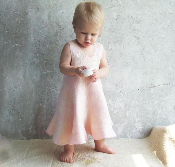 Pink baby girl dress wool felted 100% hand felt, pale pastel soft gift for 1st birthday, weddings flower girl luxury little Valentine