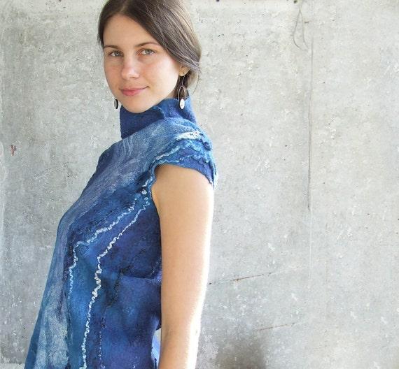 Wool blue top - shirt nuno felted warm autumn tshirt very soft, OOAK luxury holiday gift theteam, free shipping Etsy