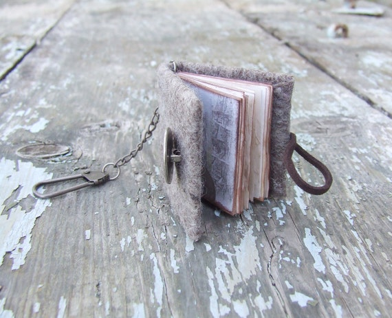 Mini notebook - key chain coin grey journal felted wool rustic paper unisex shabby chic for him dad dude oht man boy