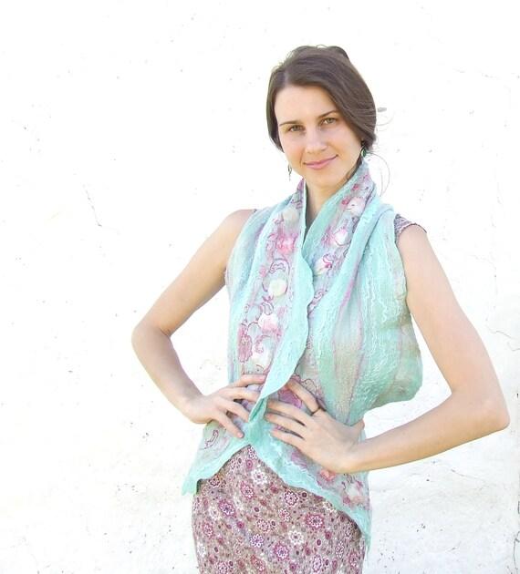 Mint wool and pink silk scarf shawl, aqua fall autumn fashion nuno felting oht