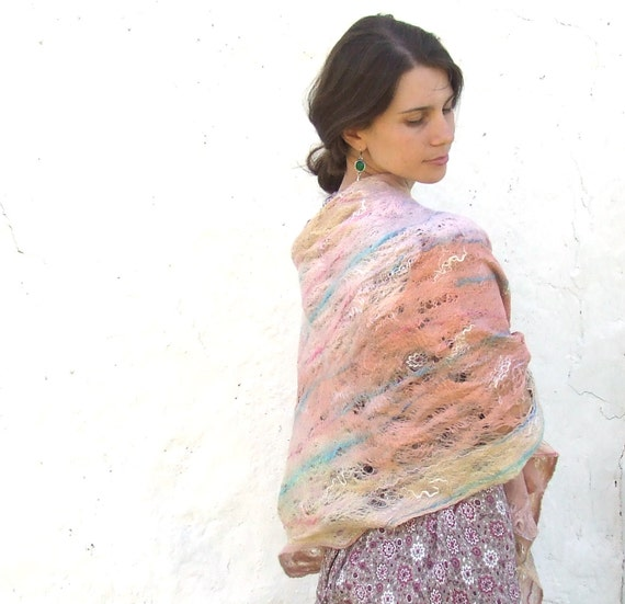 RESERVED ITEM All season shawl scarf felting wool luxury cape oht wedding bridesmaid idea for her fall autumn fashion