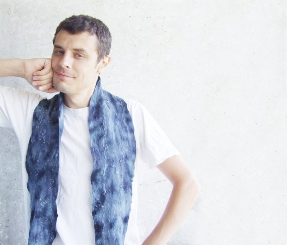 RESERVED ITEM. Men grey blue scarf for him felting wool luxury men, idea for dad, fathers day oht OOAK christmasinjuly cij