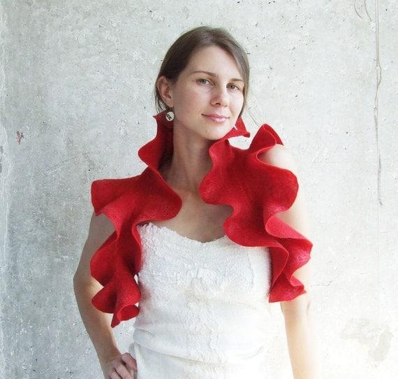 Red Wool Scarf, Infinity Shawl, Mom Christmas Gift, Wool Collar Scarf, Red Wedding Scarf, Boho Chic Scarf, Bridesmaid Shawl, Trendy Scarf