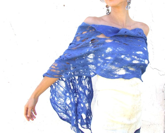 Royal blue shawl scarf for all seasons felting wool luxury neon cape oht cruise lace wedding bridesmaid idea for her fall autumn fashion