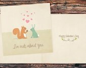 Printable Forest Woodland Valentine Card - Squirrel and Rabbit