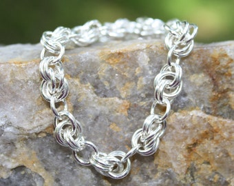 Infinity Link Argentium Sterling Silver Bracelet, Chainmaille, Made to Order