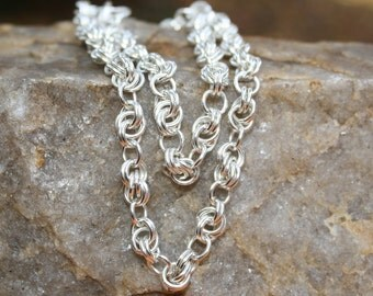 Infinity Link Necklace, Chainmaille, Argentium Sterling Silver