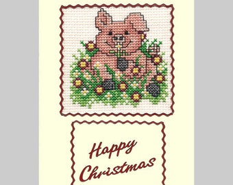 Pig Christmas Card in Cross Stitch (7098)