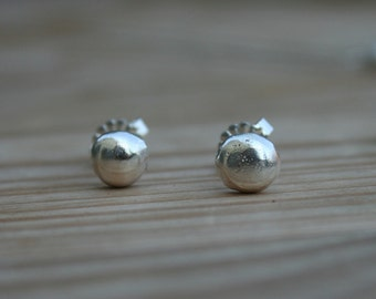 Silver Stud earrings, Recycled silver stud earrings, silver pebble stud earrings