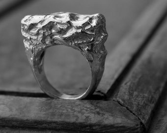 Meltdown - Silver ring, sterling silver statement ring