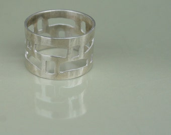Silver band, Silver ethnic ring, Silver statement ring