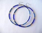 African & Tribal Inspired Large Beaded Hoops (Barbados Edition)- Choose color (La NomRah x Vibrant)