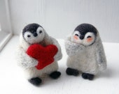 RESERVED for Jenzart: Needle Felted Penguins in Love Figurines and Red Hearts