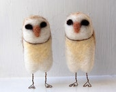 RESERVED for tmwale: Barn Owls Needle Felted Figurines