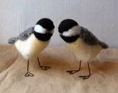 Chickadee Needle Felted Bird Figurines
