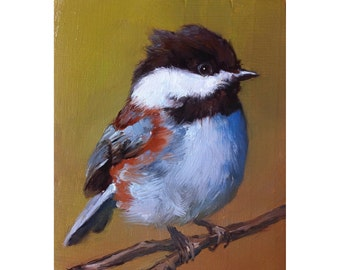 Little Baby Chestnut-backed Chickadee - Open Edition Print