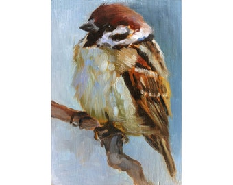 Baby Sparrow - Little Sparrow Painting - Open Edition Print