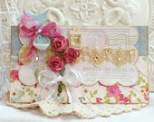 ON SALE -- Best Wishes... enjoy this special day - vintage shabby chic handmade card