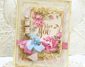 ON SALE -- A Little Love You - vintage shabby chic handmade card