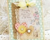 ON SALE -- Special Friendship -- cute cottage handmade card