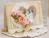 ON SALE -- Hi There - vintage shabby chic handmade card