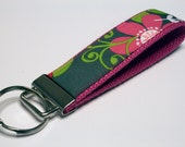 Fabric Key Fob, Key Chain, Key Ring, Key Holder, Wristlet Key Fob, Wristlet Keychain, Fabric Key fobs-Garden in style