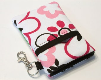 Fabric iPhone case, iPhone 4 Case, iphone Pouch, iPhone sleeve, Smart Phone Case, iPhone cover, HTC - Silhouette flowers