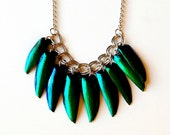 ELYCTRA metallic jewel beetle wing necklace in silver