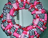 Pink and Zebra Ribbon Wreath