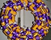 Yellow, purple and White ribbon wreath