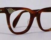 Vintage 50s 60s Cat Eye Horn Rim Eyeglasses AO Exellent