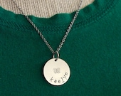 Personalized Hand Stamped Metal Necklace - Name - Flower - Little Girl Necklace