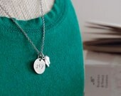 Personalized Hand Stamped Metal Necklace with Charm- Joy - New Baby - Necklace