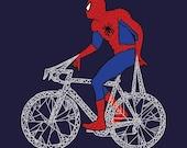 Spider Man on bike, 5x5 print