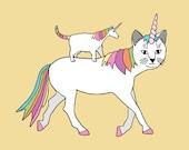 Cat-Unicorn riding Unicorn-Cat, 5x7 print
