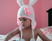 PDF Instant Download Crochet Pattern No064 White Bunny Hat All sizes Baby Toddler Child Adult