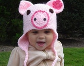 Piggy Earflap CROCHET PDF PATTERN No32 all sizes baby toddler child adult