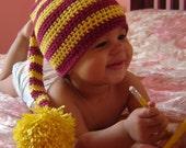 PDF Instant Download Crochet Pattern No 042 Striped Long Tail Pom Elfin Hat