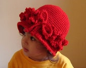 PDF Instant Download Easy Crochet Pattern No 081 Vintage Style Red Cloche All sizes Baby Toddler Child Adult