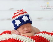 PDF Instant Download Easy Crochet PATTERN No 202 American Flag Beanie Photography Prop Sizes Preemie, Newborn, 0-3, 3-6 months