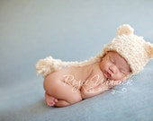 PDF Instant Download Easy Crochet Pattern No 218 Baby Bear Hat Photography Prop Sizes preemie, newborn, 0-3, 3-6 months