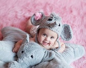 PDF Instant Download Crochet Pattern No 255 Elephant earflap Chunky yarn photo prop ALL sizes from Preemie to Adult