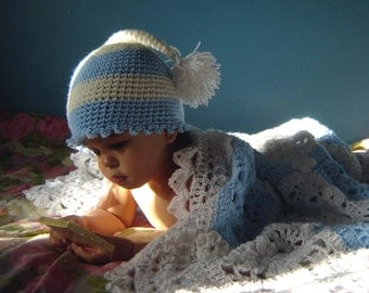 PDF Elf Striped Pom Hat  DOWNLOADABLE Crochet Pattern No061 sizes baby toddler child