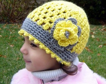 PDF Instant Download Crochet Pattern No 072 Yellow Open Weave Beanie with the Flower  All sizes Baby Toddler Child Adult