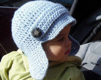 PDF Instant Download Crochet Pattern No 063 Newsboy Earflap ALL Sizes baby toddler child adult