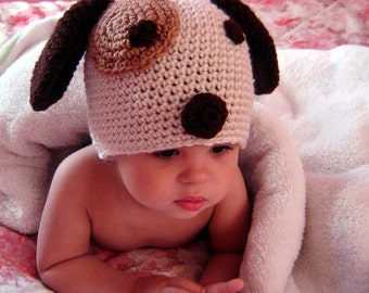 PDF Instant Download Crochet Pattern No 052 Puppy Beanie OR Earflap All sizes baby toddler child adult
