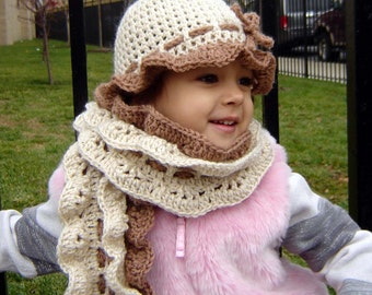 PDF Instant Download easy Crochet PATTERN No070  Ruffled Double Scalloped Scarf Child and Adult sizes